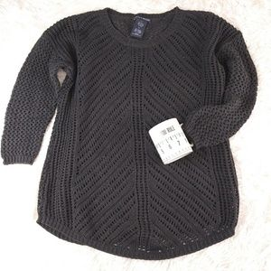 Cozy XL open weave sweater charcoal gray
